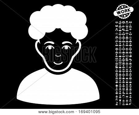 Brunet Man icon with bonus human pictures. Vector illustration style is flat iconic white symbols on black background.