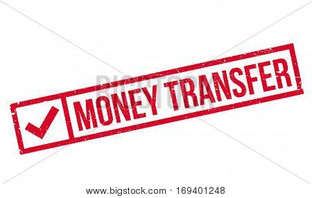 Money Transfer rubber stamp. Grunge design with dust scratches. Effects can be easily removed for a clean, crisp look. Color is easily changed.