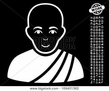 Buddhist Monk icon with bonus avatar pictograph collection. Vector illustration style is flat iconic white symbols on black background.