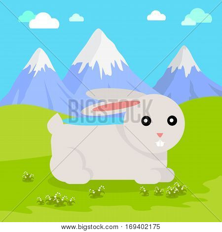 Funny hare sitting on green grass on background of mountain landscape. Gray hare with pink ears. Animal adorable mammal rabbit vector character. Natural background. Wildlife character