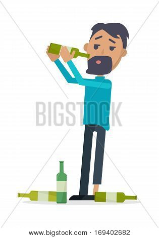 Man with bottle of wine isolated on white. A lot of empty bottles on the floor. Drunk boy with alcohol. Alcohol addicted person with bottles of beer. Alcoholism. Vector illustration in flat style.
