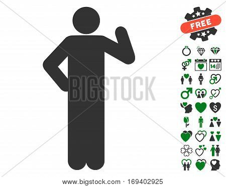 Proposal Pose icon with bonus love clip art. Vector illustration style is flat iconic green and gray symbols on white background.