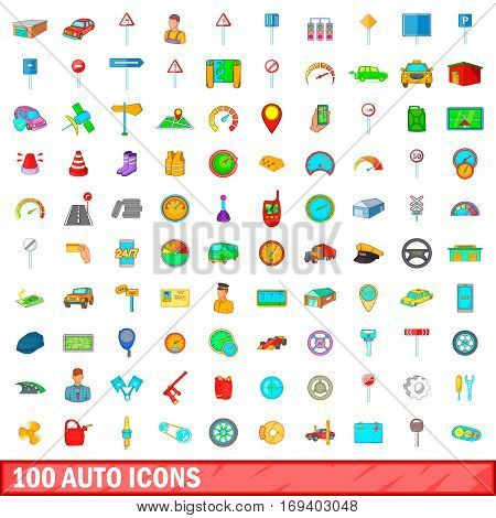 100 auto icons set in cartoon style for any design vector illustration