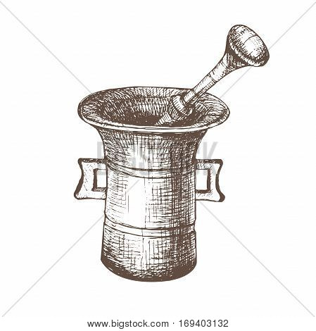 Vector illustration with sketch mortar. Sketch of kitchen utensils in vintage style. Vector illustration. Hand drawn sketch. Black and white sketch.