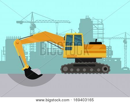 Ground works on construction vector concept. Excavator digging earth silhouette of buildings and cranes on background. Industrial machine. For construction theme illustrating, building companies ad