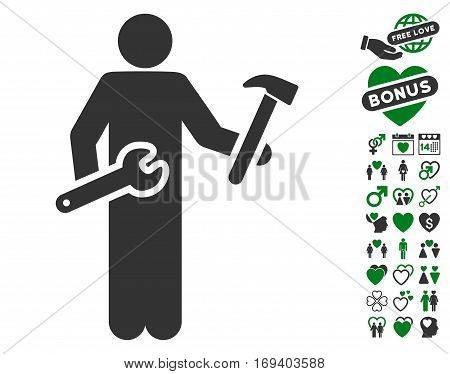 Serviceman icon with bonus valentine icon set. Vector illustration style is flat iconic green and gray symbols on white background.