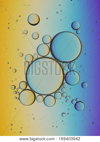 Oil Bubbles Isolated on White Background, Closeup Collagen Emulsion in Water. Illustration. Gold Droplets.