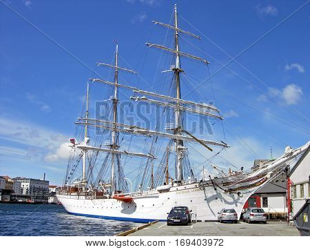 Bergen, Norway - June 8, 2009: The Tall Ship Statsraad Lehmkuhl is moored in its home port of Bergen (Norway).