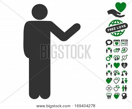 Talking Man icon with bonus lovely design elements. Vector illustration style is flat iconic green and gray symbols on white background.