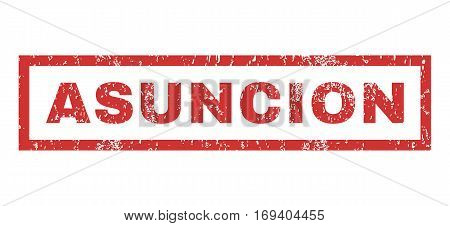 Asuncion text rubber seal stamp watermark. Caption inside rectangular banner with grunge design and dirty texture. Horizontal vector red ink emblem on a white background.