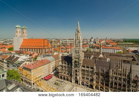 Panoramic View Of The Marienplatz Is A Central Square In The City Centre Of Munich, Germany