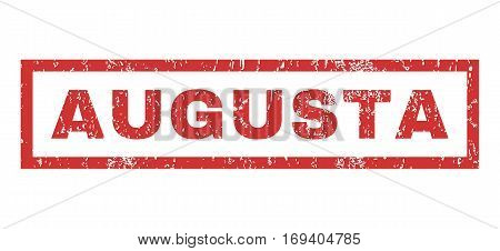 Augusta text rubber seal stamp watermark. Tag inside rectangular banner with grunge design and dust texture. Horizontal vector red ink sticker on a white background.