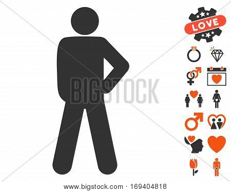 Audacity Pose icon with bonus dating pictograph collection. Vector illustration style is flat iconic orange and gray symbols on white background.
