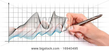 writing hand on diagram