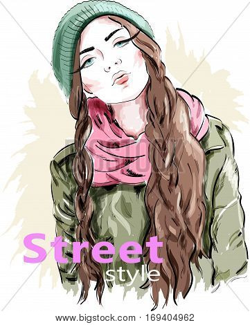 Fashion girl wearing modern knit cap and jacket. Street style clothes. Sketch woman.
