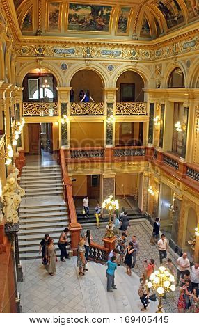 LVIV, UKRAINE - JUNE 29, 2014: Interior of Solomiya Krushelnytska State Academic Opera and Ballet Theatre (1897 - 1900), Lviv, Ukraine