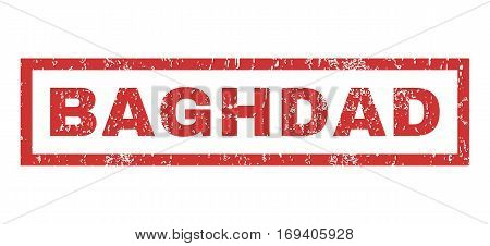 Baghdad text rubber seal stamp watermark. Caption inside rectangular shape with grunge design and dust texture. Horizontal vector red ink sticker on a white background.
