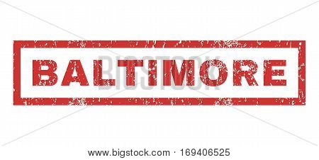 Baltimore text rubber seal stamp watermark. Caption inside rectangular shape with grunge design and unclean texture. Horizontal vector red ink sticker on a white background.