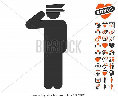 Police Officer pictograph with bonus valentine icon set. Vector illustration style is flat iconic orange and gray symbols on white background.