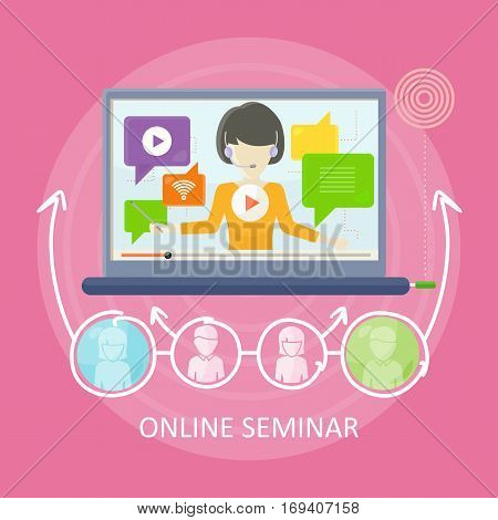 Online seminar concept vector in flat design. Woman with headset holding internet training. Mobile solutions for education. Illustration for educational companies, career courses ad.