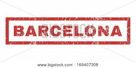 Barcelona text rubber seal stamp watermark. Tag inside rectangular shape with grunge design and dirty texture. Horizontal vector red ink emblem on a white background.