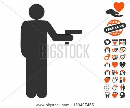 Robber With Gun pictograph with bonus dating pictograms. Vector illustration style is flat iconic orange and gray symbols on white background.