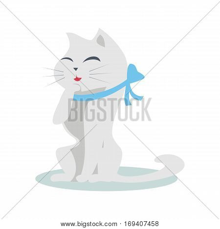 Cute cartoon cat with blue ribbon. The gray cat washes, licks a paw. Cat is washing itself. Cat icon. Pet icon. Isolated vector illustration on white background