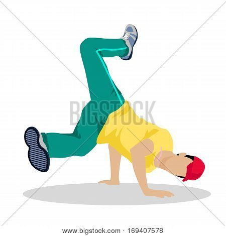 Street dancer. Street dance concept flat design. Hip hop and break. Vernacular dances in urban contex. Culture and entertainment. Dance style evolved outside studios in available open space. Vector