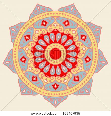 Drawing of a floral mandala in red, blue and yellow colors on a white background. Hand drawn tribal  vector stock illustration