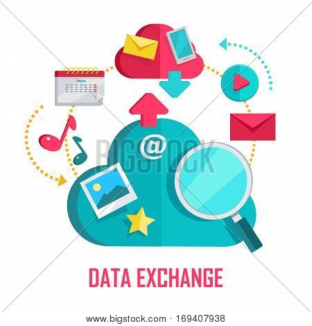 Data exchange banner. Networking communication and data icons on white background. Data protection, global storage and online cloud storage, media content, online communication, cloud computing.