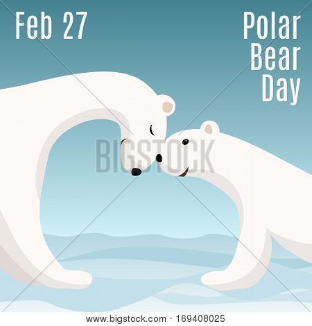 International Polar Bear Day card. Cute cartoon polar bear mom hugs her baby. Animal family. Children illustration.