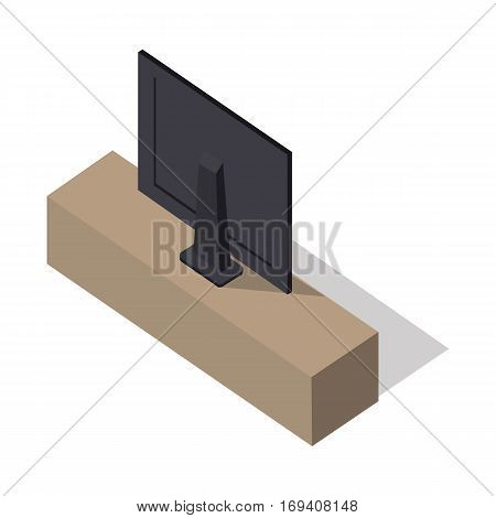 Isometric wide screen TV on brown stand. LCD TV monitor back view. Isometric room interior element with shadow in flat. Smart TV Mock-up. LED TV. Plasma TV. Furniture element for home interior.