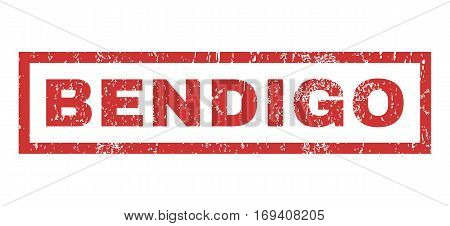 Bendigo text rubber seal stamp watermark. Caption inside rectangular shape with grunge design and scratched texture. Horizontal vector red ink sign on a white background.