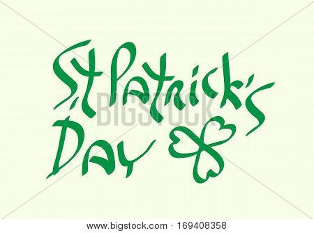 St Patricks Day with shamrock symbol traditional holiday green text vector illustration