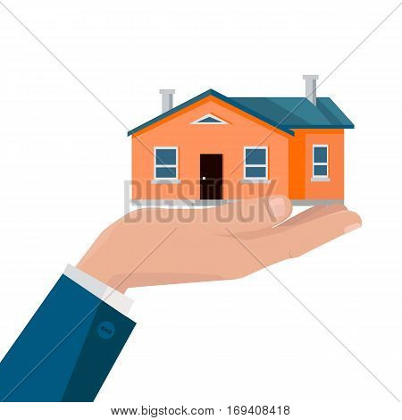 Real estate conceptual vector in flat design. House on the businessman palm. Selling a new place for living. Illustration for real estate company advertising, housing concepts. Isolated on white.