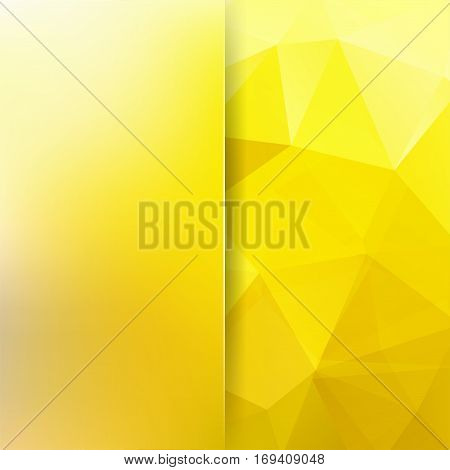 Background made of yellow triangles. Square composition with geometric shapes and blur element. Eps 10.