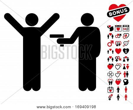Crime Robbery icon with bonus valentine pictures. Vector illustration style is flat iconic intensive red and black symbols on white background.