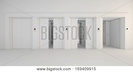 Modern Metal Elevator With Open Doors,white Hall Interior