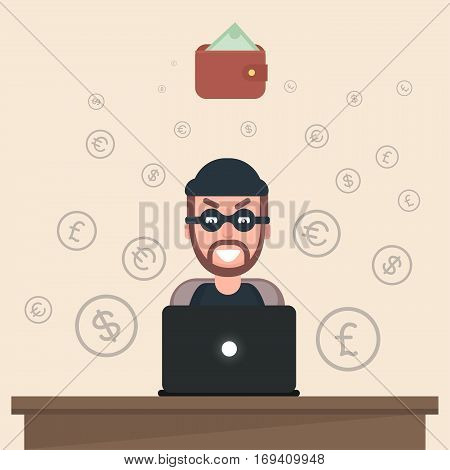 Hacker steals money in her purse off of other people.Flat. Vector. Illustration.