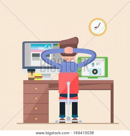 Man working on a laptop computer decided to rest. Businessman sitting on a chair at the table, a cup of tea and a burger, wall clocks. Cool vector illustration of a flat character design on a white background