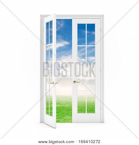 Open Door To The Grass Field With Sky