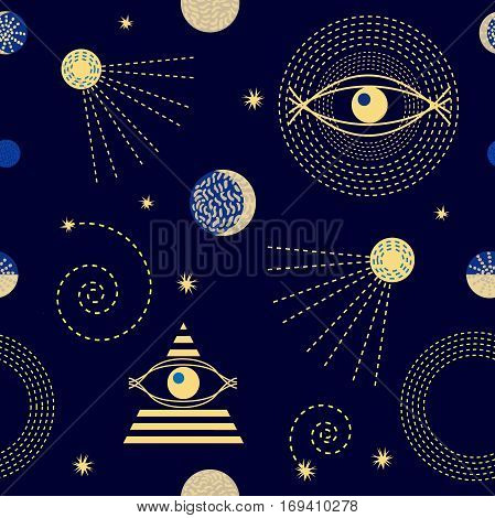 Abstract seamless vector pattern with constellations, crescent moon, sputniks and astrological symbols.