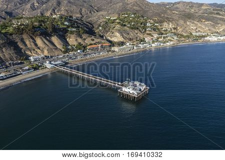 Aerial of Malibu Pier and the Pacific Ocean in Southern California.