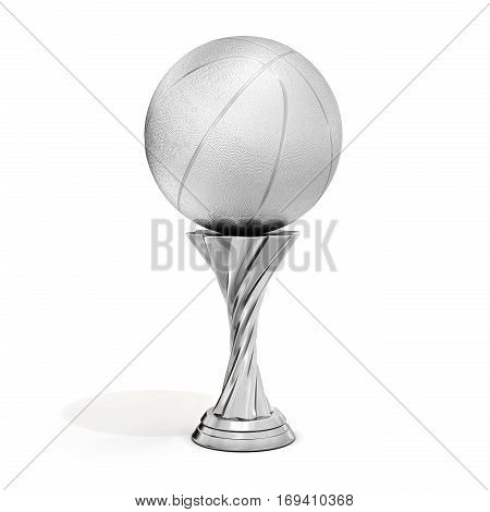 Silver Trophy With Basket  Ball