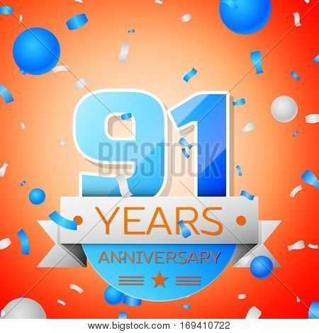 Ninety one years anniversary celebration on orange background. Anniversary ribbon