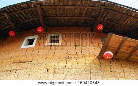 wall of Tulou traditional dwelling ethnic Hakka