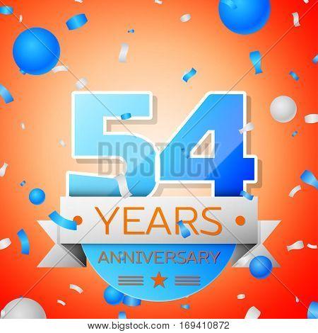 Fifty four years anniversary celebration on orange background. Anniversary ribbon