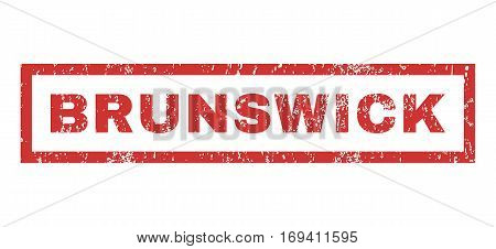 Brunswick text rubber seal stamp watermark. Caption inside rectangular banner with grunge design and dust texture. Horizontal vector red ink sticker on a white background.