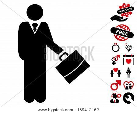 Standing Businessman icon with bonus valentine images. Vector illustration style is flat iconic intensive red and black symbols on white background.