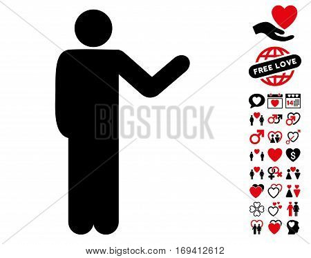 Talking Man pictograph with bonus lovely symbols. Vector illustration style is flat iconic intensive red and black symbols on white background.